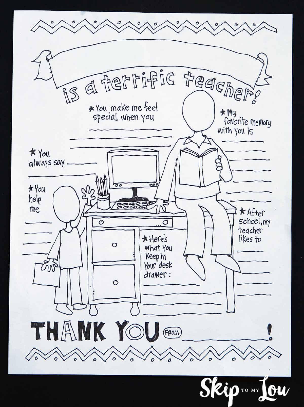 teacher coloring sheet