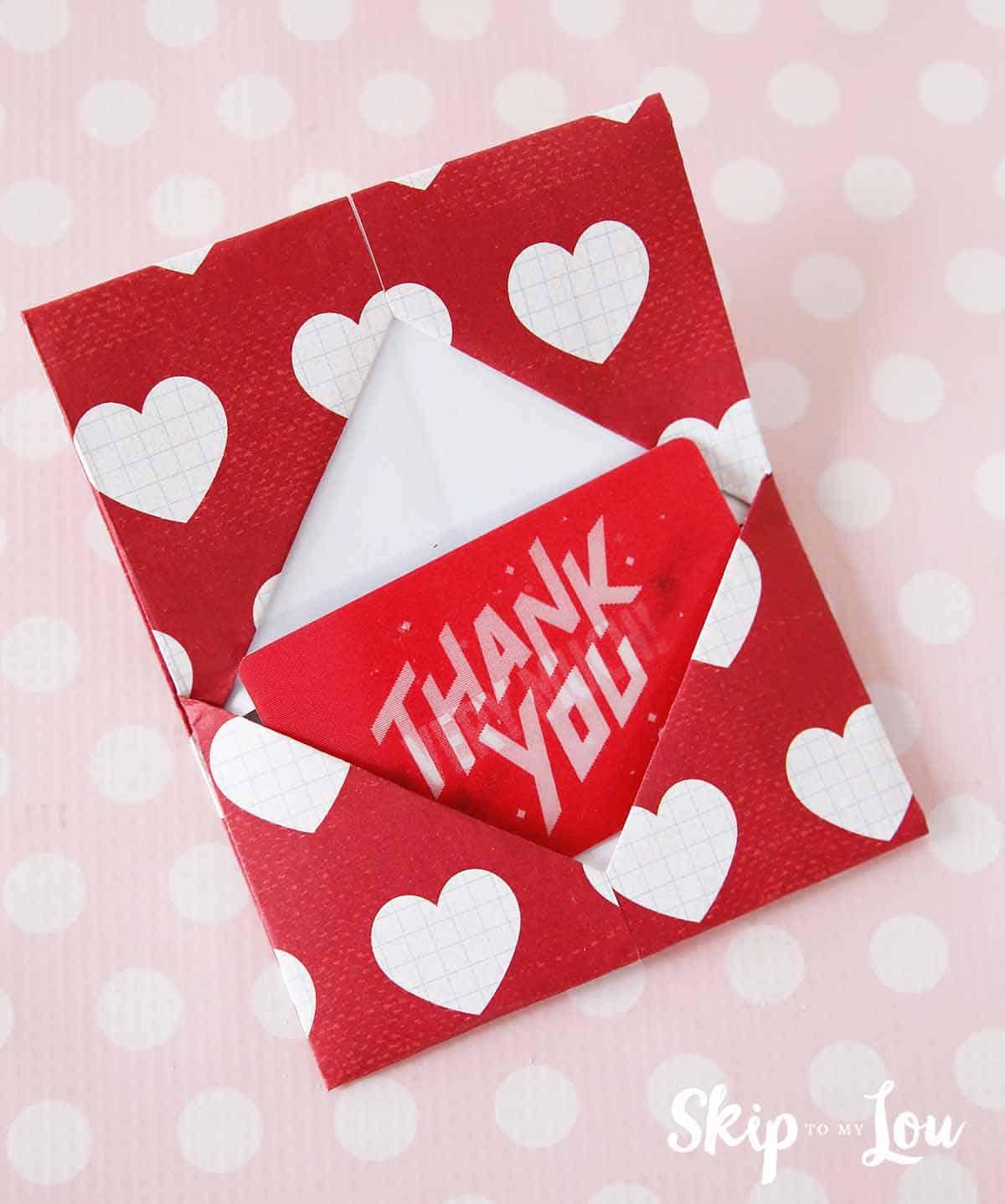 teacher gift origami gift card holder