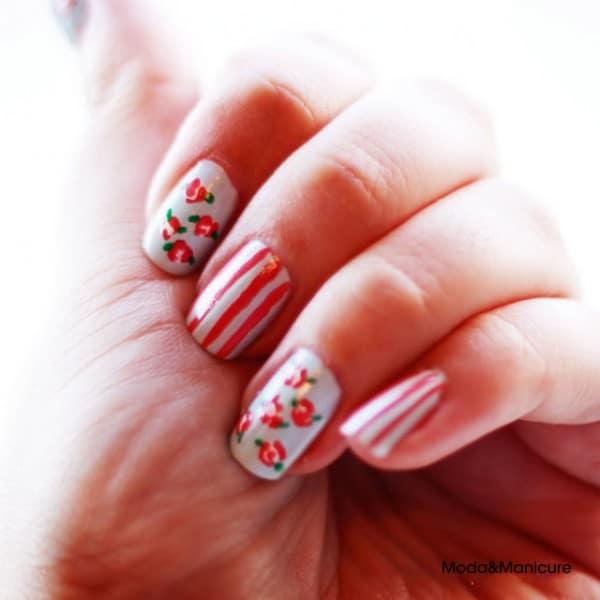 cute spring floral nail design