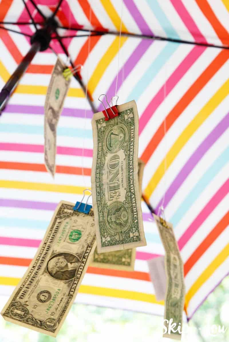cash in umbrella rainy day gift