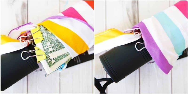closed umbrella with cash