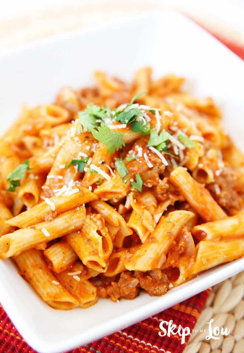 Gluten Free Pressure Cooker Pasta with Meat Sauce
