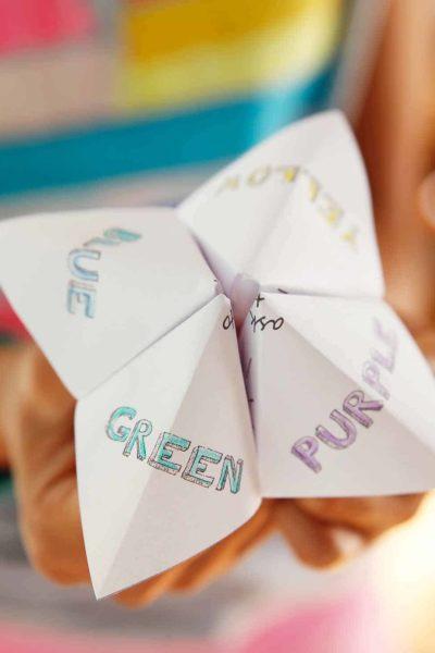 kids wedding activity paper fortune teller skiptomylou