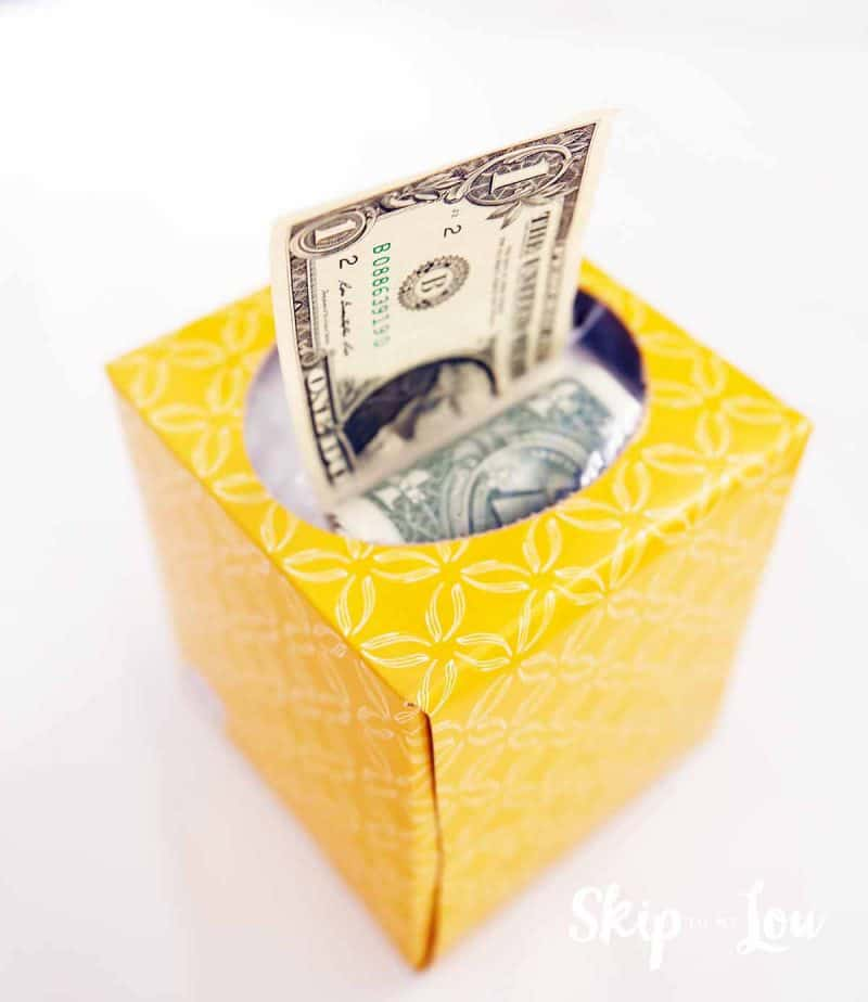 gift cash money in tissue box