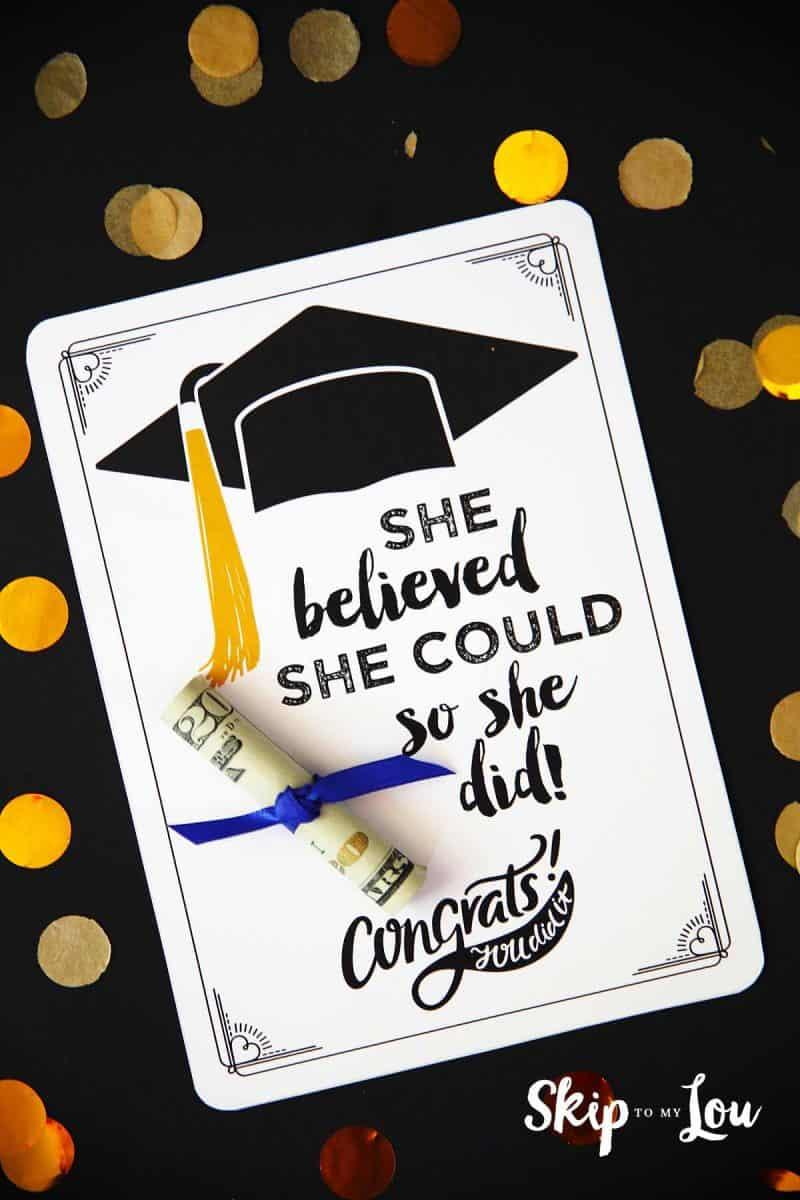 Declarative image throughout graduation printable cards
