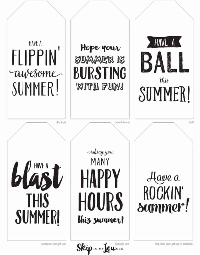 printable happy summer tags