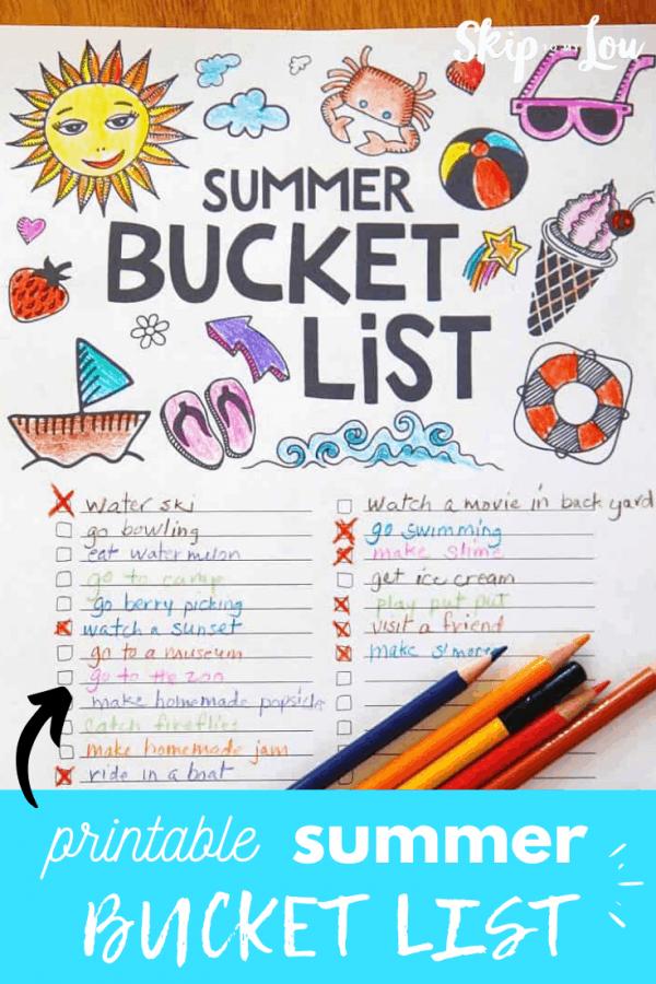 printable summer bucket list PIN