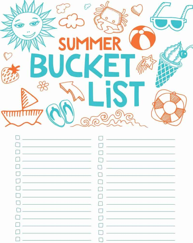 printable bucket list for summer
