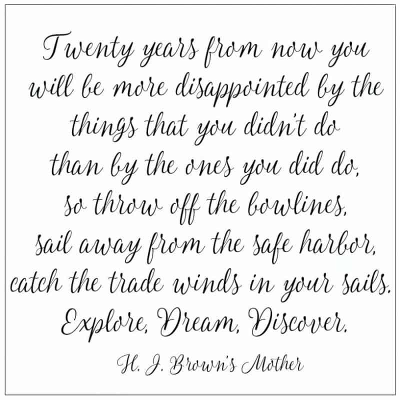 Twenty years from now you will be more disappointed by the things that you didn't do than by the ones you did do so throw off the bowlines quote