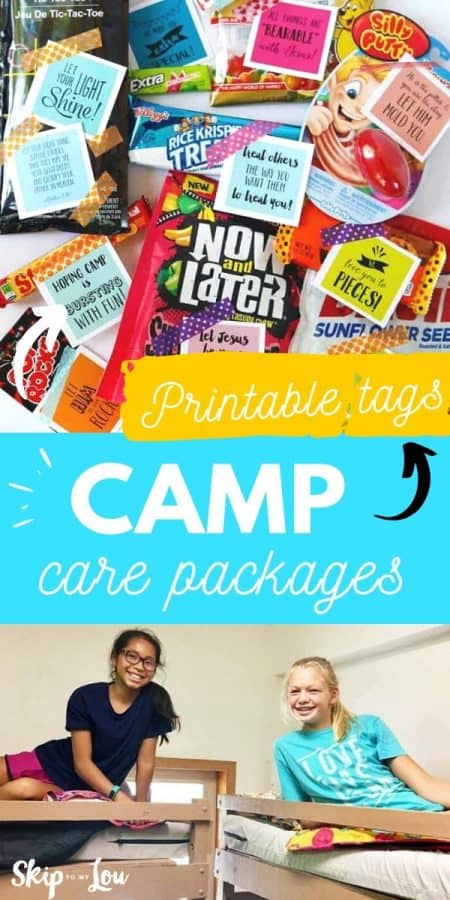 camp care package printable tags PIN