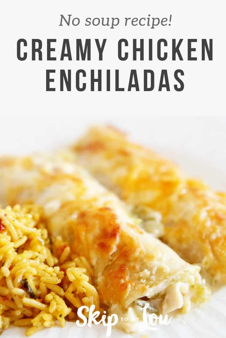 These chicken enchiladas are a simple dinner that is always a hit. You may think you have this recipe or at least a similar one, but this recipe is a bonus because it is not made with cream of chicken soup and it tastes so much better. #Mexican #Recipes
