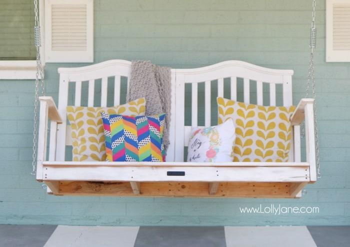 DIY baby crib porch swing