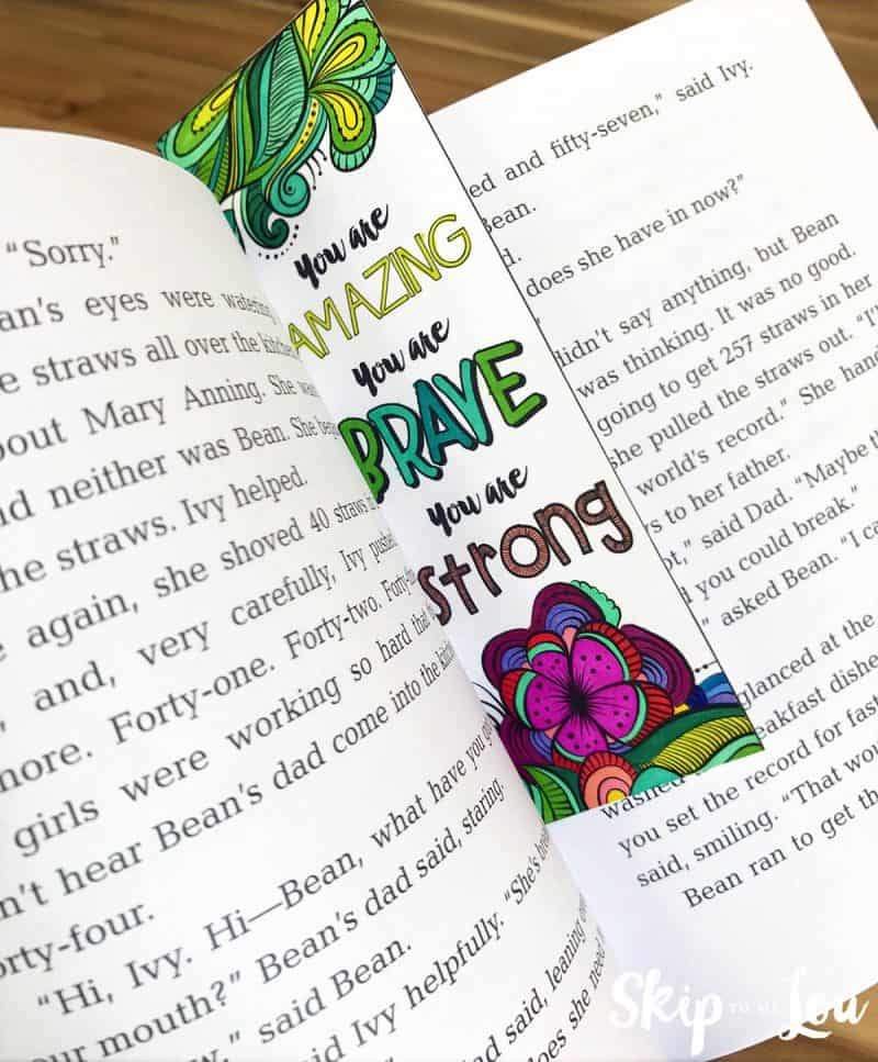 coloring bookmark with inspirational saying