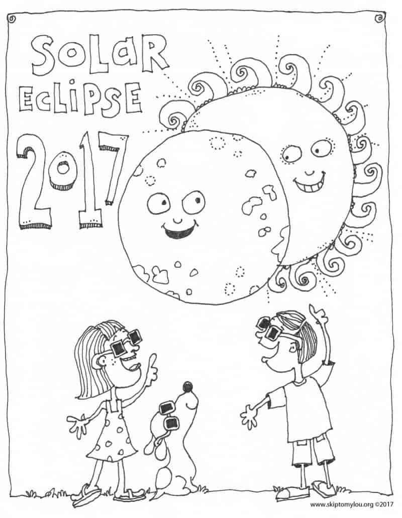 Colouring sheets of the lunar eclipse - Solar Eclipse Coloring Page
