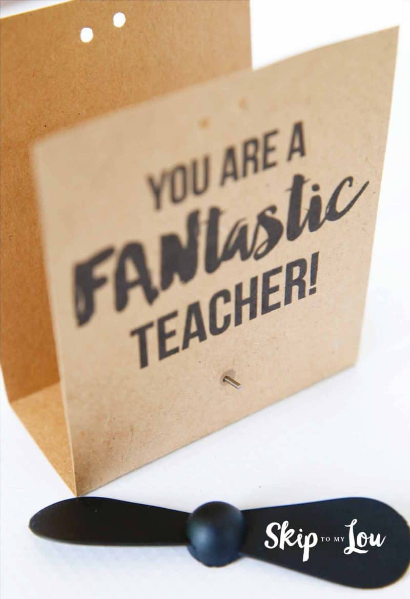 place fan in card for teacher