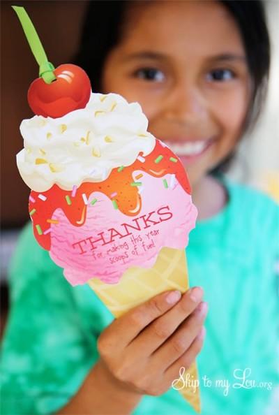 printable ice cream cone gift card holder