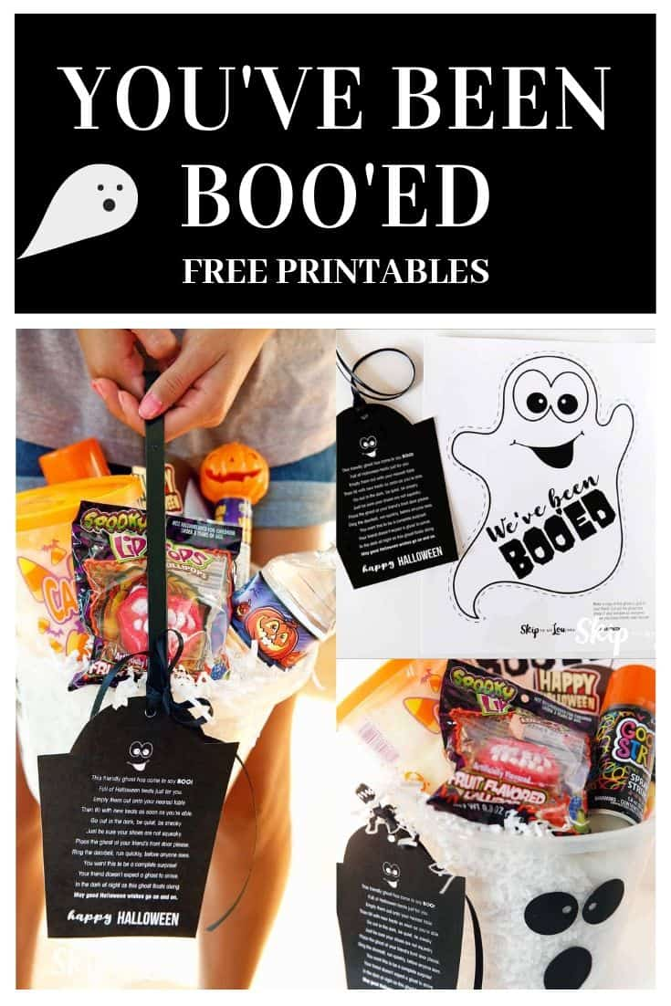 a varienty of treat containers with printable Halloween messages on the to boo the neighbors with  (a fun way to treat the neighbors)