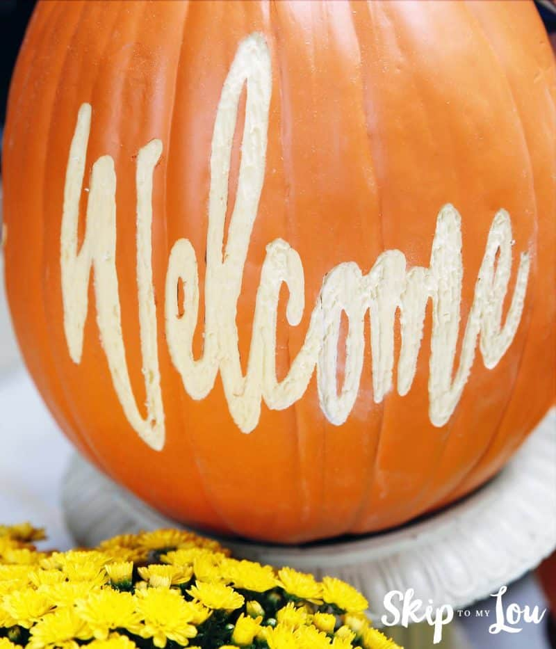 carved welcome foam pumpkin