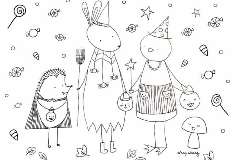 kawaii halloween coloring pages - photo#17