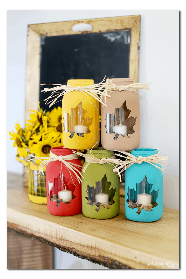 fall mason jar leaf jars