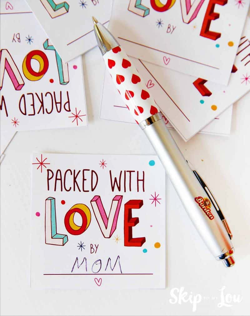 free printable packed with love notes
