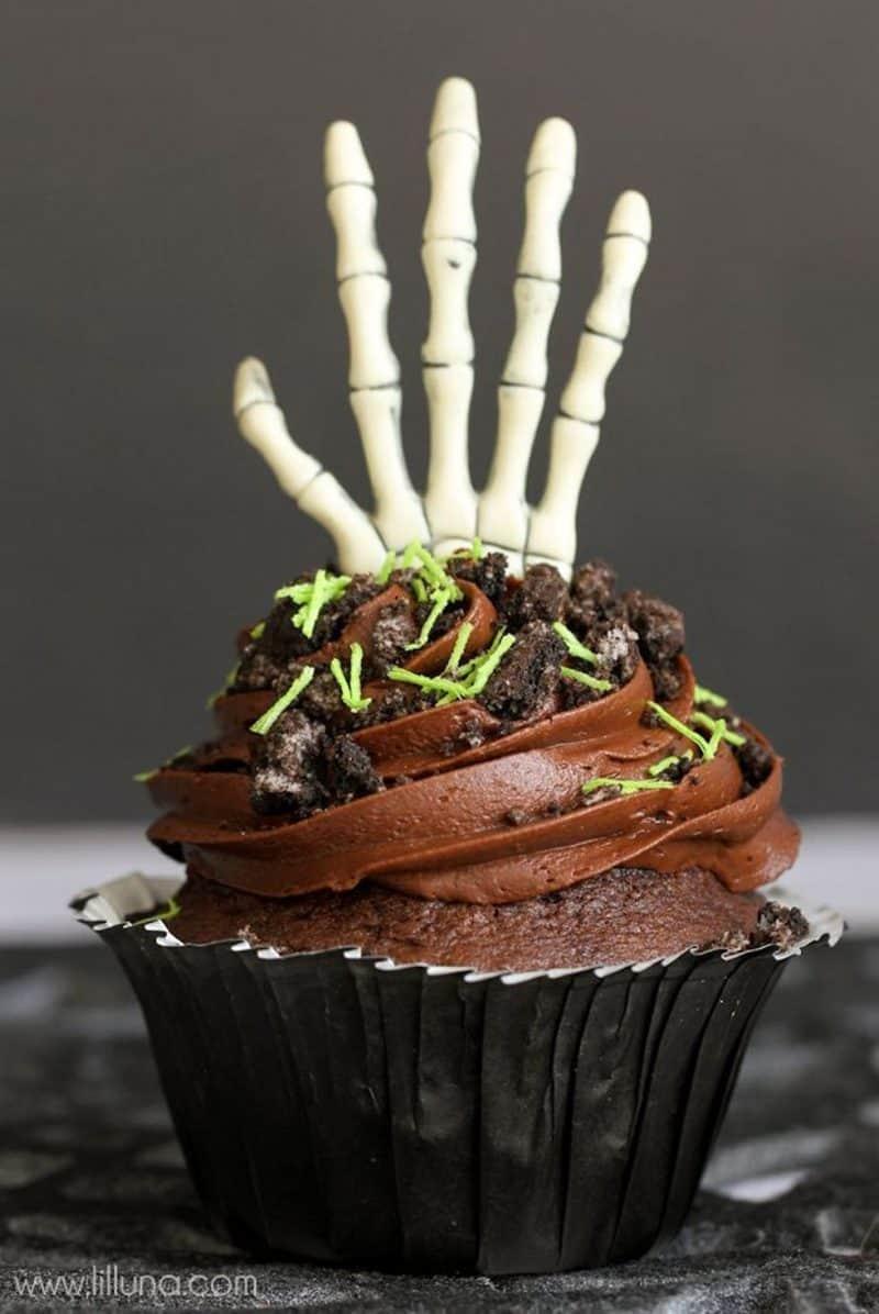 zombie hand cupcake