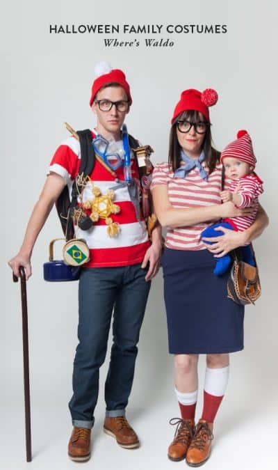 Family of three dressed as Where's Waldo Characters