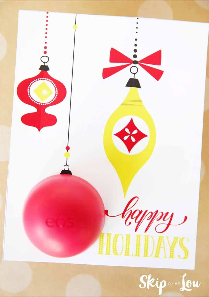Happy Holidays Printable EOS lip balm card