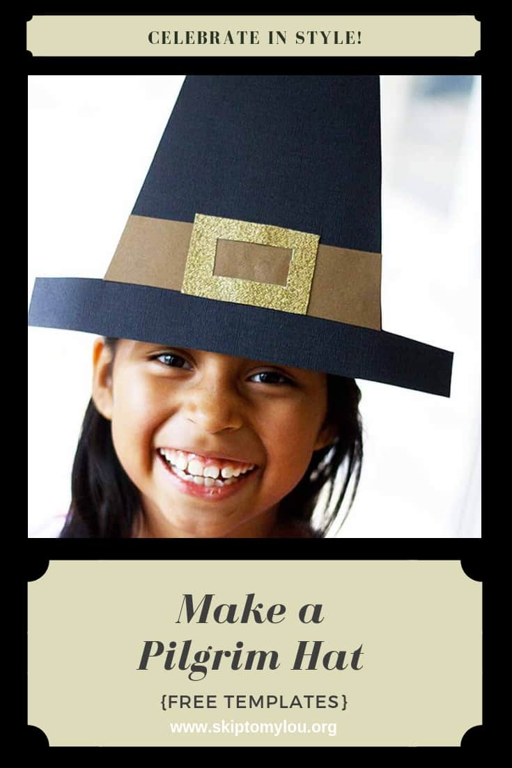 This cool Pilgrim hat will make you the best-dressed guest at your Thanksgiving dinner. Do you prefer a Pilgrim bonnet? No worries I have a paper Pilgrim bonnet tutorial.FREE TEMPLATES make it EASY!  Have all the supplies ready and it a great way to entertain the kids before your meal. #Thanksgiving #printables