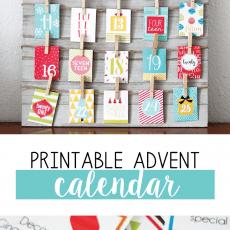 advent calendar printable card hanging on board