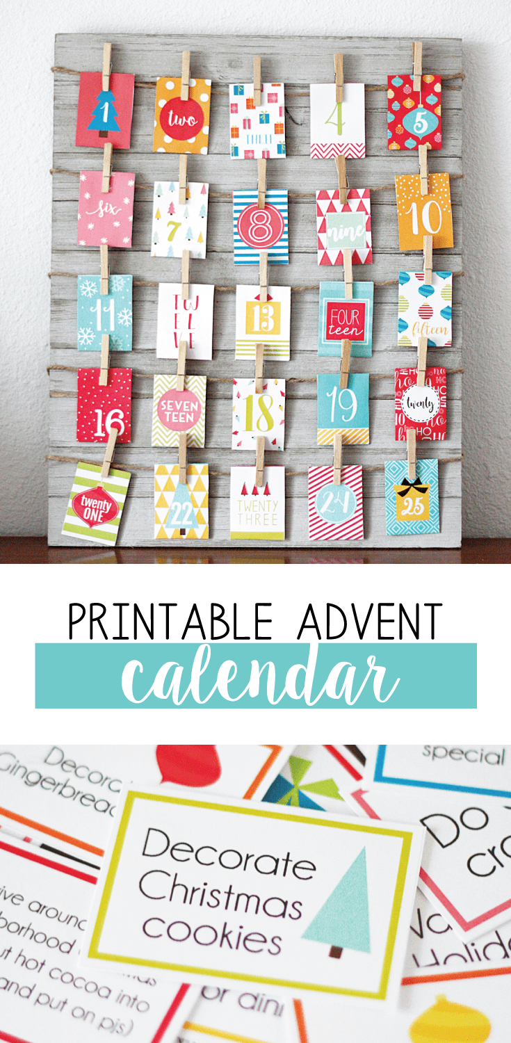 advent calendar printable card hanging on board