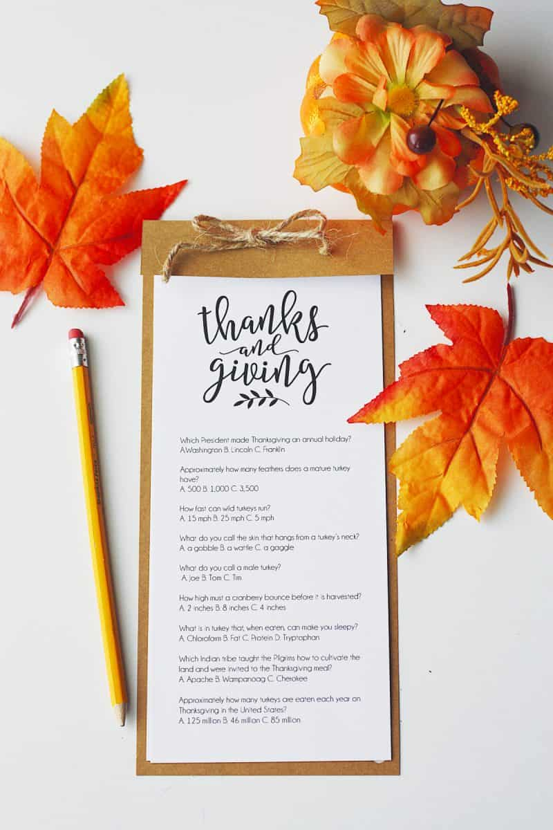 Printable Thanksgiving Trivia Tutorial