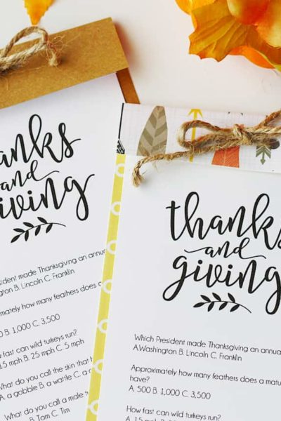 Thanksgiving Trivia Printable