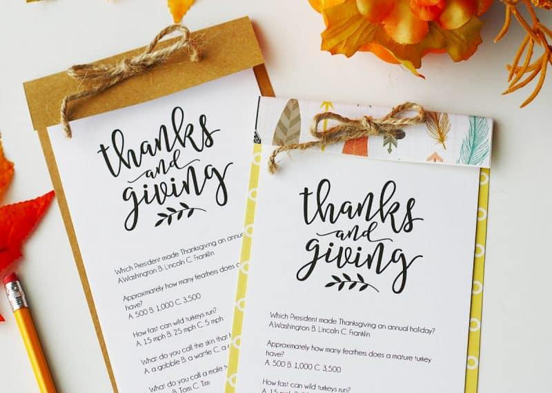 Thanksgiving Trivia Printable