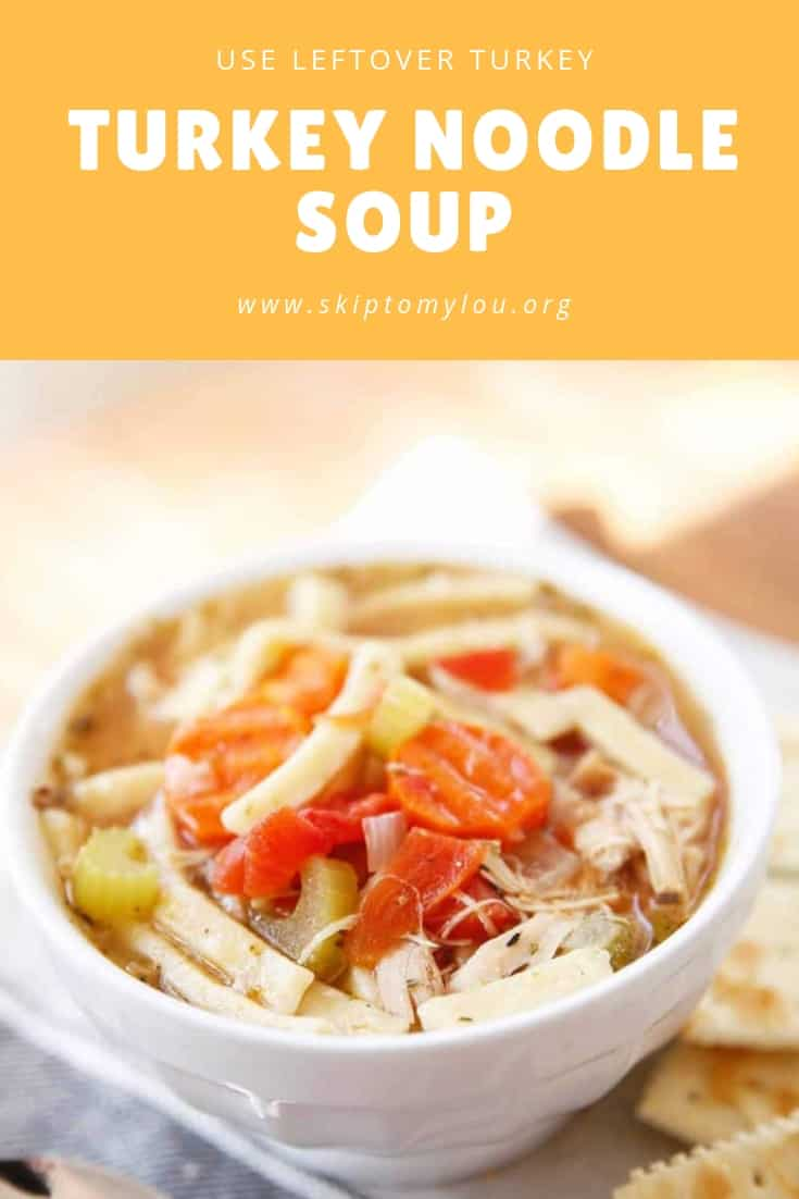 Turkey noodle is my go-to soup after Thanksgiving. Don't let anyone throw away the turkey frame! It will help you make the most delicious soup ever. I promise! #turkey #recipes