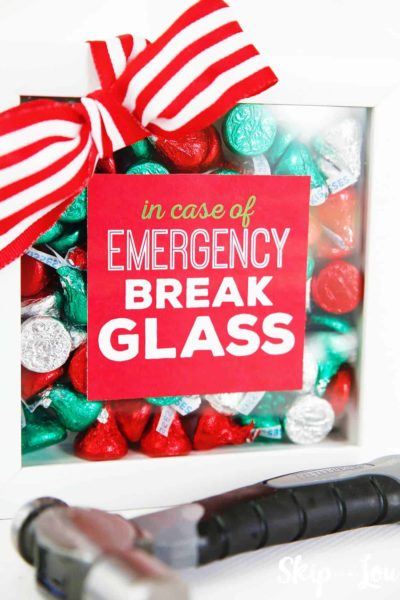in case of emergency break glass frame filled with chocolate