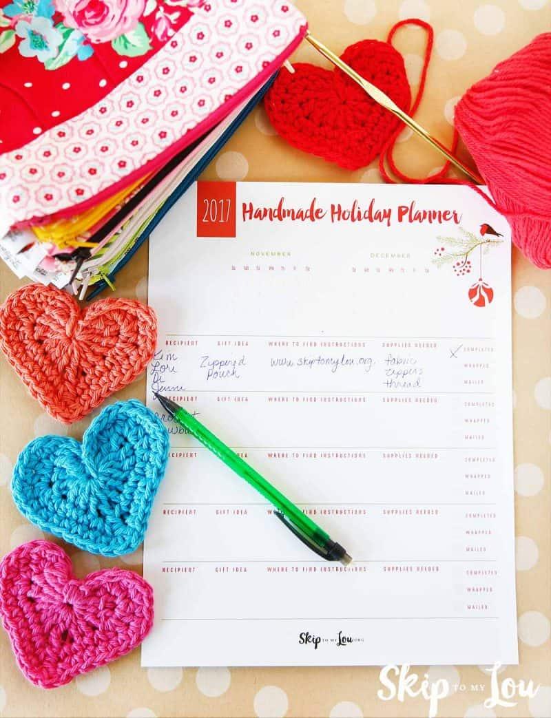 Christmas List printable handmade gift planner