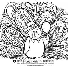 Free Turkey Coloring Pages for Thanksgiving - illustration by St