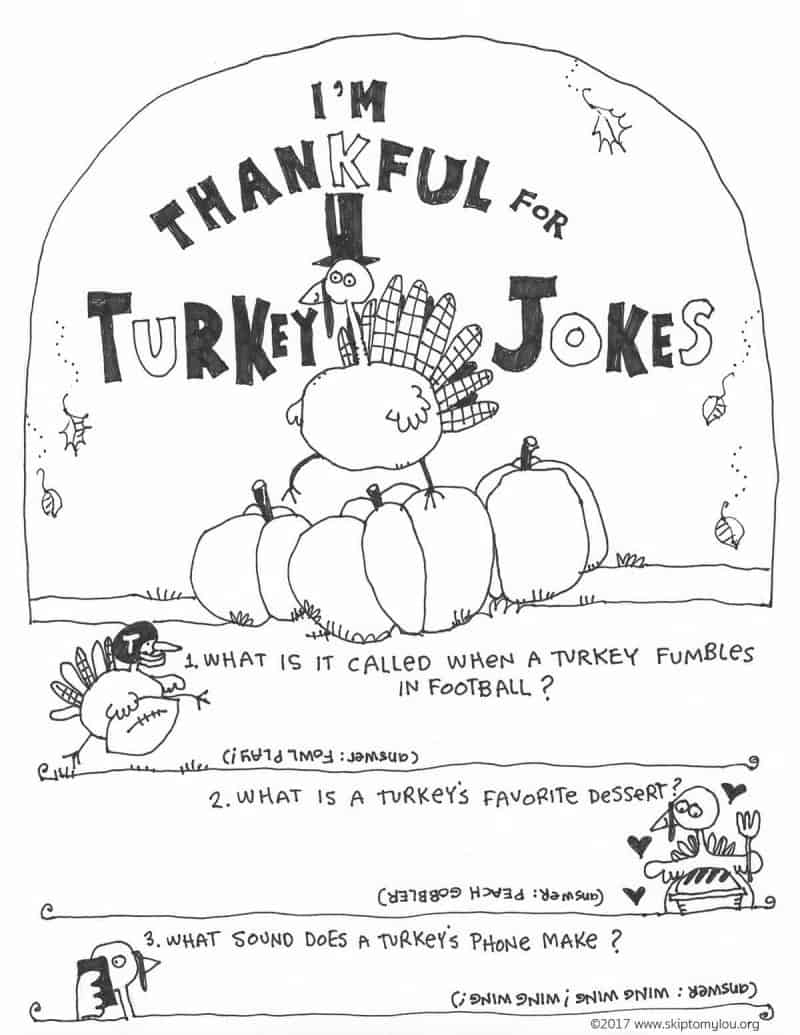 turkey jokes coloring page