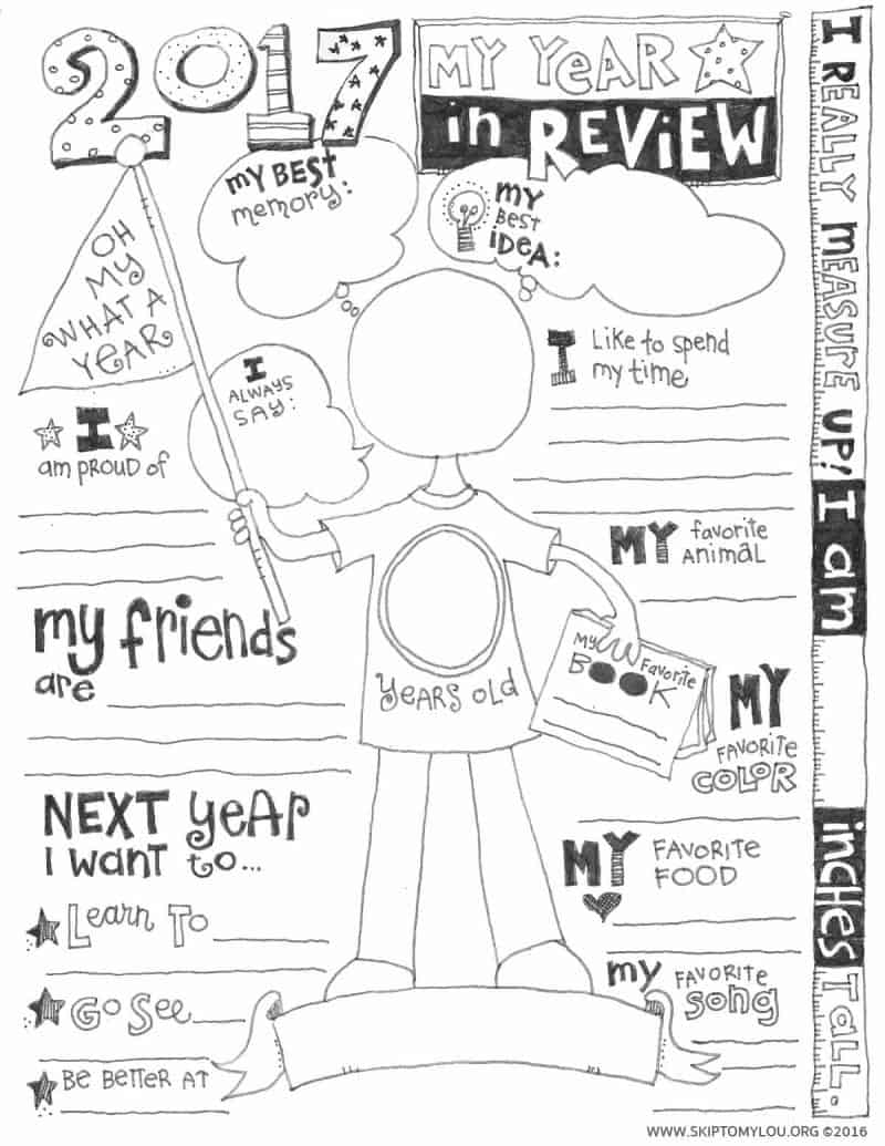 2017 Year In Review Coloring Page (UPDATED) | Skip To My Lou