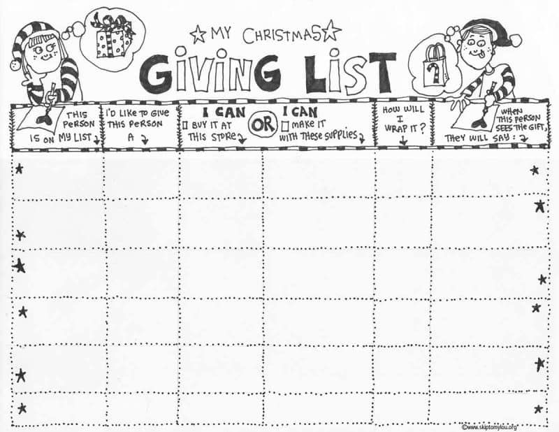christmas list coloring page