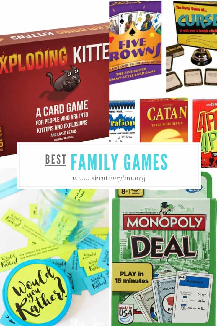 Family game nights are a favorite past time of mine, we love playing games together with all our family members. Here is a list of great games we love that are easy to play, easy to find and provide hours of fun! Many can be played with younger kids, you might even be able to buy the Jr. version in many of these games. Do you like fast paced games, card games, board games what do you play on family game night? #familyfun #games