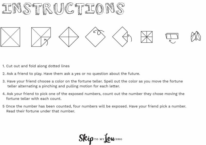 how to make a fortune teller instructions