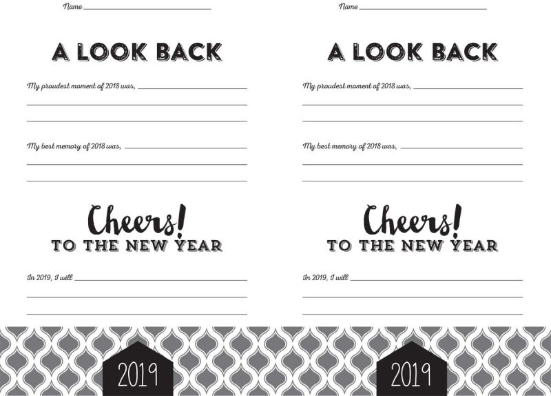 2019 resolution card printable