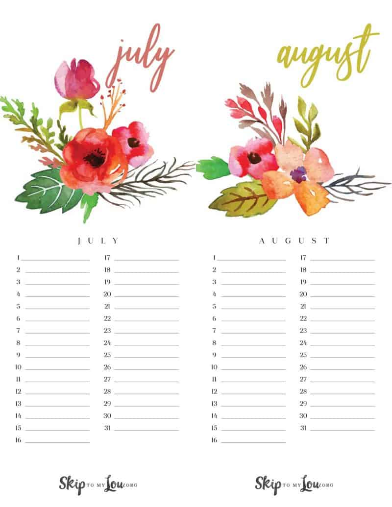 Beautiful 2019 Printable Calendar Free Download Updated
