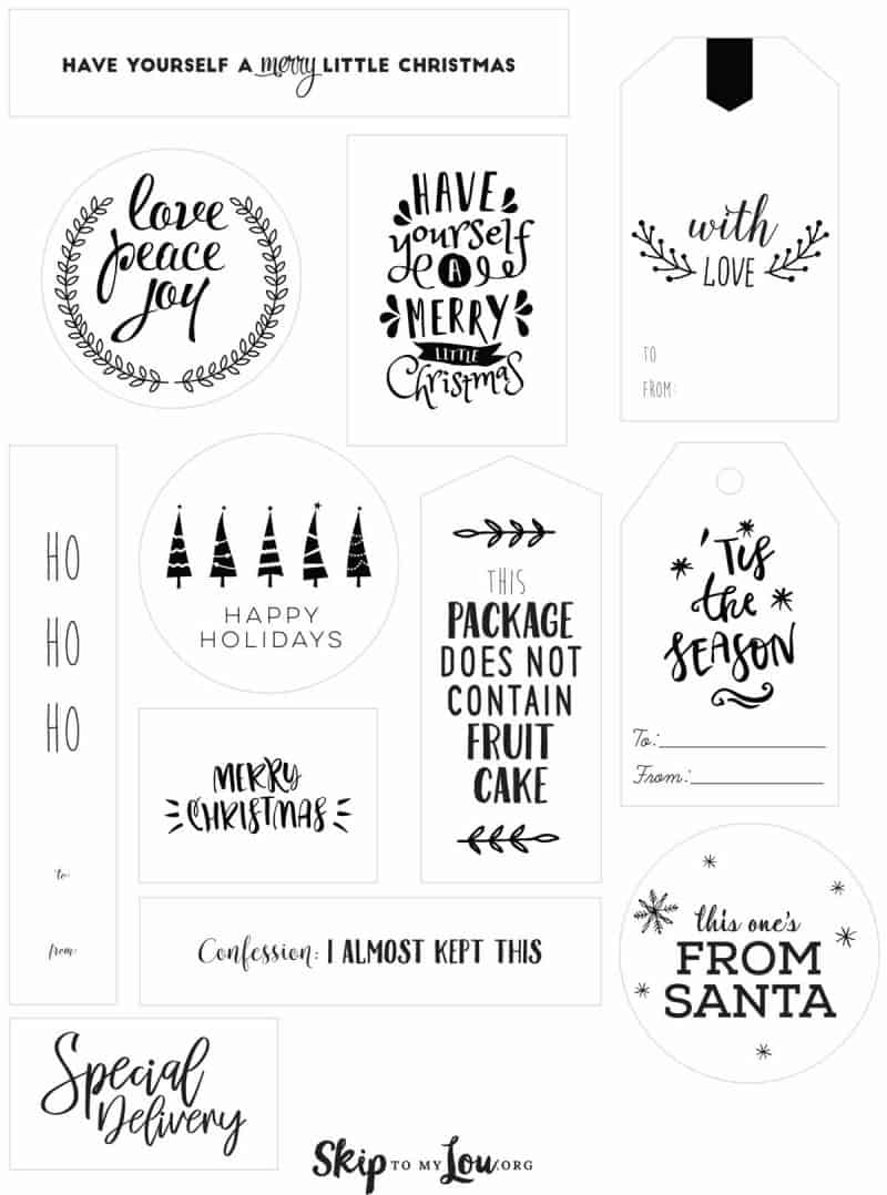 picture about Printable Christmas Tags Black and White named Xmas Tags Miss out on Towards My Lou