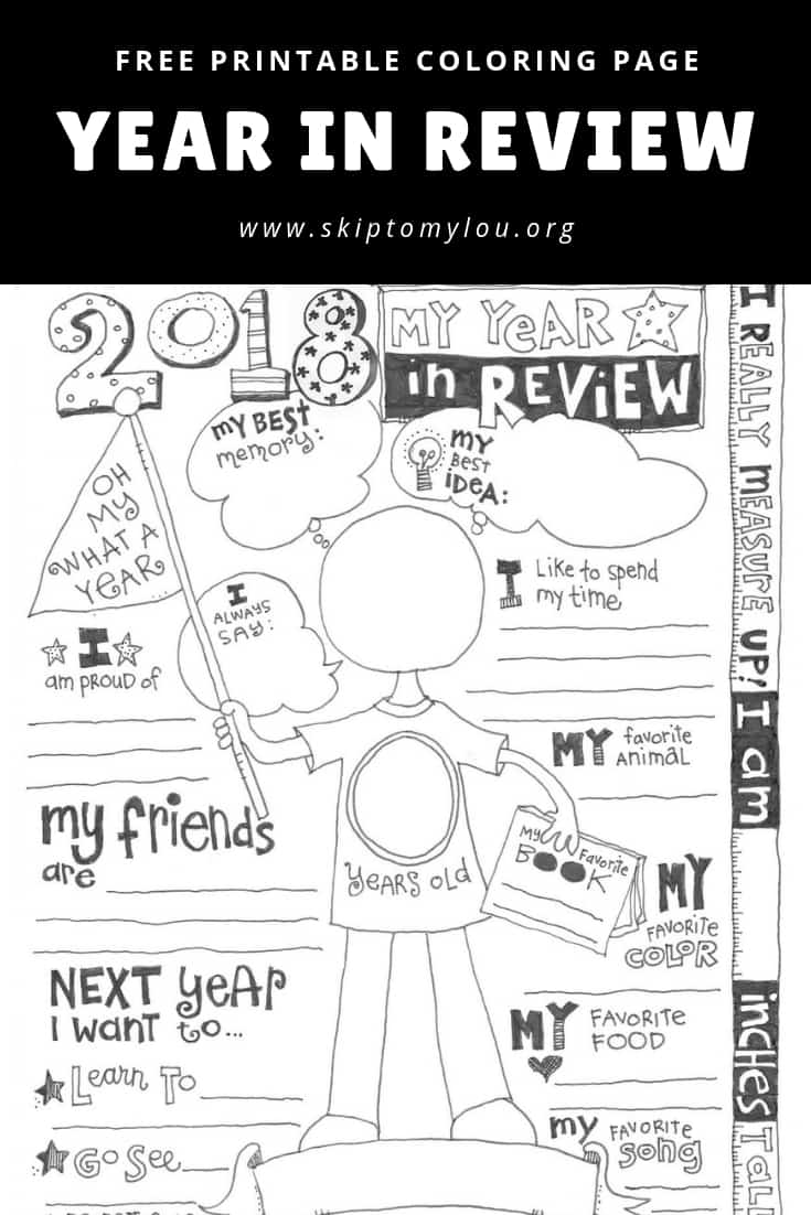 This 2018 Year In Review Printable coloring page is the perfect way to record your child's year. It is fun to learn what they think is their proudest accomplishment and best idea. Complete this sheet every year to see how hobbies, tastes in food and friends change. You can also see how they measure up! #kids #coloringpages