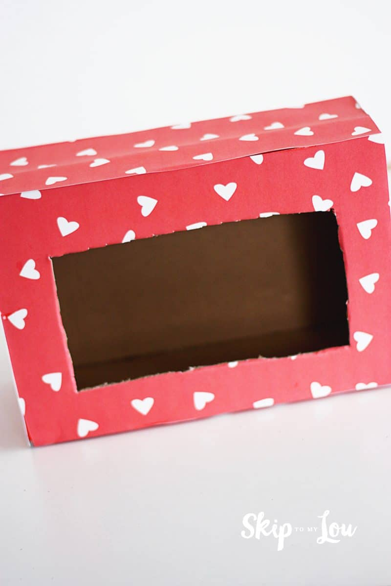 box covered with heart paper no eyes added yet