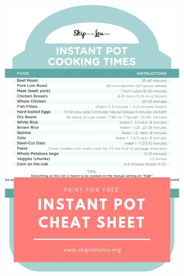 Instant Pot Cheat Sheet Pinterest Graphic