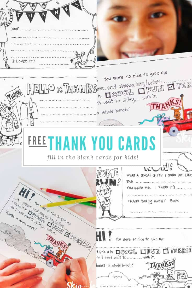 Do your kids need to say a few thank yous? I have these darling printable thank you cards just for them!  Four different designs to choose from.  These are the easy fill in the blank thank you cards for kids that make saying thank you super easy! #printables #kids